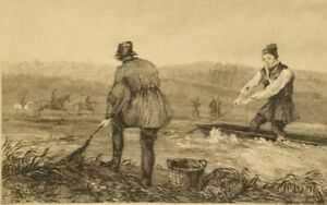 Antique steel engraving; Skeavingtons 'Net Fishing' 1850