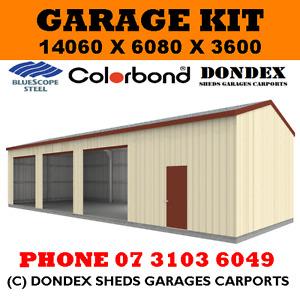 DONDEX SHEDS Garage Shed Kit 14x6x3.6 Colorbond Roof, Walls & Doors Trim
