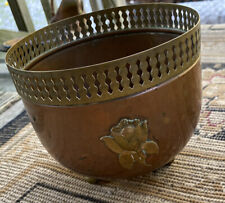 Antique Vintage Copper And Brass Flower Pot With Flower On Side And Brass Ornate