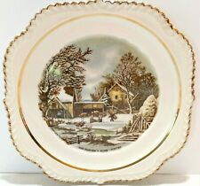 "Currier & Ives ""The Farmer's Home - Winter"" 9"" Decorative Plate With Gold Trim"