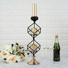 "Gold Black 20"" tall Geometric Cube Stand Glass Votive Candle Holders Decorations"