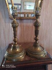 Paire de Bougeoirs Bronze Décor de Rangs de Perles et Godrons