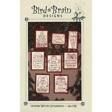 Bird Brain Designs CD Holiday Words Ornaments MACHINE Embroidery Redwork