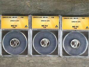 3 Mercury Dimes 1942 D MS63, MS64, MS65 ALL FULL SPLIT BANDS