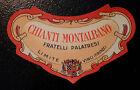 ETICHETTA LABEL da fiasco CHIANTI MONTALBANO Vintage anni '50 cm 8,5 x 4.5