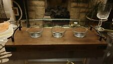 3 Glass Dip Bowls with Wooden Tray Set, Handle, Sauce Dip Serving Round Dish