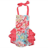 NWT Baby Girls Floral Ruffle Romper Jumpsuit Sunsuit Outfit 6-12 18 24 3T