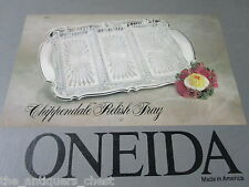 "Oneida Silver plated tray and 3 relish glass trays ""Chipendale""  pattern NIB[a*5"