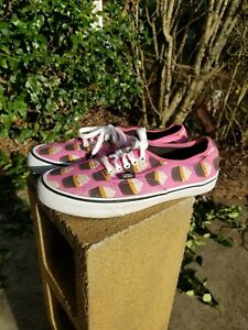 Vans Late Night Cute Authentic Pink Cupcake Canvas Skate Shoes M 8.5 Women's 10