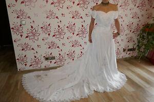 Brautkleid/Hochzeitskleid mit Schleppe Neu mit Etikett Weiß gr.38-42
