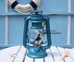 1X Camping Lantern Kerosene Hurricane Lamps Light Blue