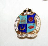 VINTAGE ENAMEL SOUTHSEA WAVERLEY 1896  BOWLING CLUB BROOCH / BADGE / PIN