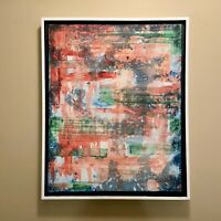 Green & Orange abstract original modern acrylic canvas painting 16x20 ships free