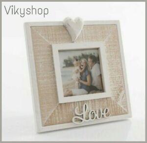 PORTA FOTO SHABBY CUORE LOVE legno da appoggio ingresso camera bianco marrone