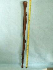 """Vintage Folk Art Carved Walking Stick Cane, 2- Snakes and a Salamander, 31-7/8"""""""
