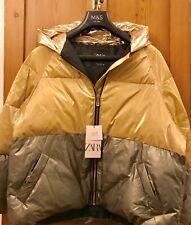 ZARA Amazing Colour Block Puffer Jacket Size Large. Gold And Khaki.