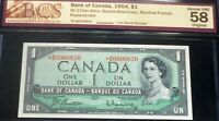 1954 BANK OF CANADA $1 - ASTERISK REPLACEMENT - LOW SERIAL  NUMBER 830 *B/M