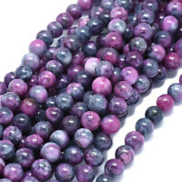 "46pcs/strand Natural Dyed Jade Bead Round Magenta 8mm 15"" Jewelry Gemstone Loose"