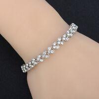 Elegant Women Roman Chain Clear Zircon Crystal Rhinestone Bangle Bracelet GiftCO
