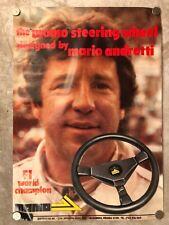 Vintage Mario Andretti MOMO Steering Wheel Advertising Sales Poster RARE!! L@@K