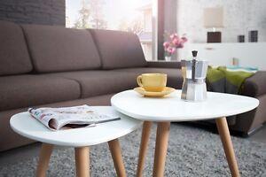 Designer Coffee Table 2er Set Retro Style Zigon Repro White New