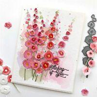 Metal Cutting Dies Hollyhocks Flower Stencils Scrapbook Cuts Embossing DIY Craft