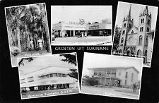 SURINAME, MULTI-VIEW, BUILDINGS, CHEVROLET DEALER, ESSO GAS, RPPC c 1950's