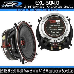 "DS18 EXL-SQ4.0 4"" Coaxial Car Speaker 260 Watt 3 ohm 4in 2-Way Neo Fullrange"