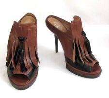 JEFFREY CAMPBELL Mules talons plateau cuir marron noir 40 NEUF