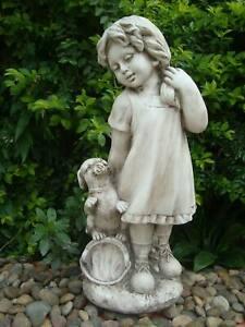 Statue Country Girl Sculpture Figurine Ornament Feature Garden Decor 26X21X61cm