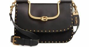 Coach 1941 Ellie Crossbody with Rivets studs HTF Black leather suede NWT