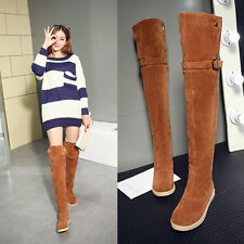 Womens stylish over knee Thigh High boots pull on Winter Warm fur lined Casual