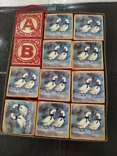 Vintage Wooden Letter Block Set 12 Goose Christmas Ornaments with loops