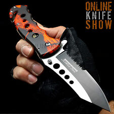 TAC FORCE TACTICAL FIRE CAMO Spring Assisted Knife Open Folding Pocket Blade