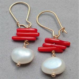 White Baroque Pearl Earring 18k Gold Ear Drop Hook Hoop Gift Cultured Jewelry