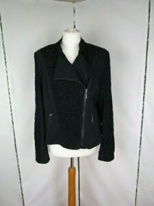 Twiggy For M&S Collection Black Zipped Jacket contrasting panels. Pockets Uk16
