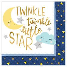 16 x Blu & Oro Twinkle Little Star Tovaglioli di Carta Baby Shower Compleanno |