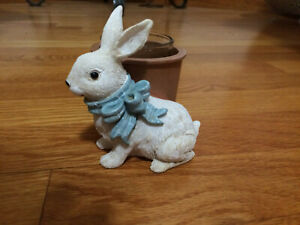 Yankee Candle EASTER BUNNY with BLUE BOW & FLOWER POT VOTIVE HOLDER RARE 2011