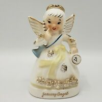 Vintage NAPCO A1361 JANUARY Birthday Angel FIGURINE Spaghetti Trim Japan 1950's