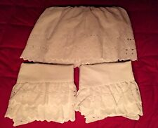 White Queen Eyelet Bed Skirt + 2 Pillowcase Shams made in Usa