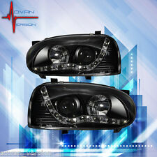 93-98 VW Golf MK3 Black Projector Headlight LED DRL Head Lamp PAIR
