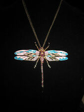 BETSEY JOHNSON RARE LARGE DRAGON FLY WITH BLING NECKLACE
