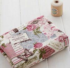 Vintage Chic French Rose Butterflys Botanicals Linen Cotton Fabric Retro 50x47cm
