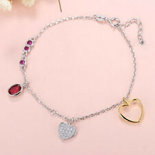 CREATED RUBY & CREATED DIAMOND 925 STERLING SILVER ANKLET HEART BRACELET 9.5in