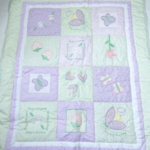 Lambs & Ivy Baby Blanket Crib Quilt Comforter Lavender Green Textured Floral