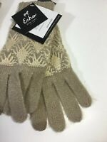 Echo  Touch Touchscreen Compatible Glove, Tan W Gold Accents NWT One Size Knit