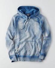 NWT American Eagle AEO Men's TIE DYE RIBBED Long Sleeve Blue Sweater Hoodie L