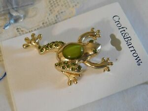 Green Rhinestone Frog Jelly Bell Pin Brooch Craft and Barrow New on Card