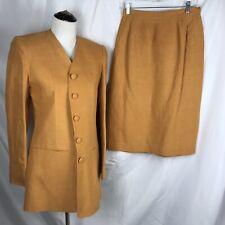 Vtg Club France Skirt Suit Women's 10 100% Linen Marigold Yellow Long Jacket