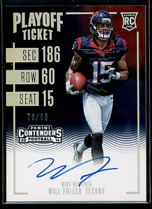 2016 Panini Contenders Will Fuller Playoff Ticket Auto 78/99 RC Texans Rookie